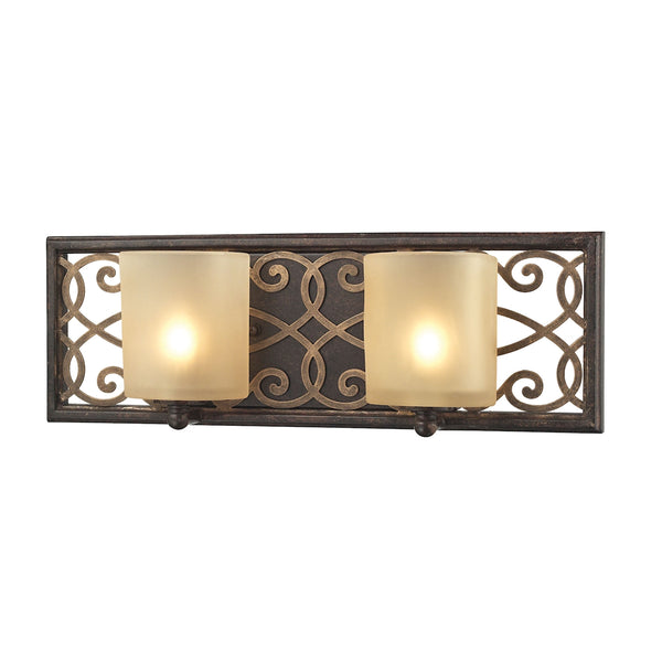 Santa Monica 2 Light Vanity In Weatbered Bronze With Gold Highlights