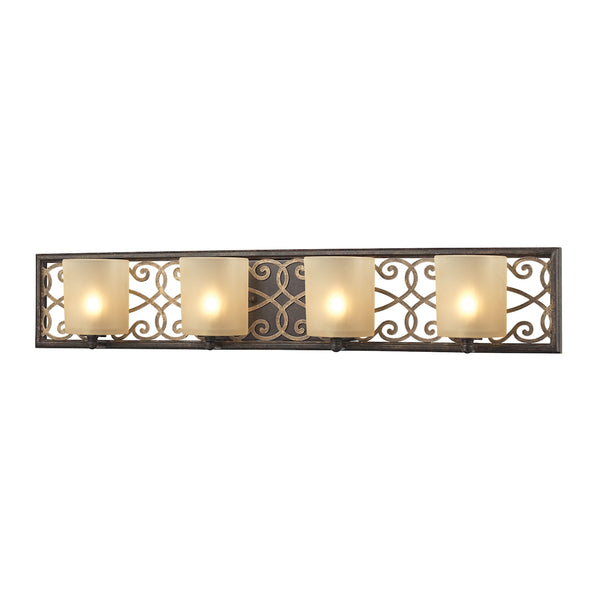 Santa Monica 4 Light Vanity In Weatbered Bronze With Gold Highlights