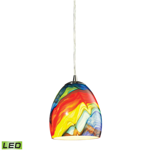 Colorwave 1 Light LED Pendant In Satin Nickel And Rainbow Streak Glass