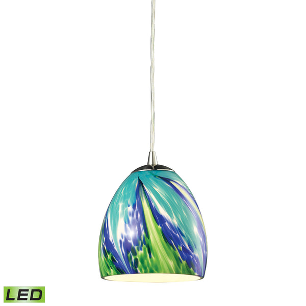 Colorwave 1 Light LED Pendant In Satin Nickel And Tropics Glass