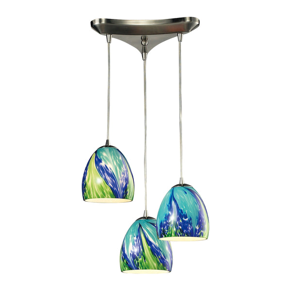 Colorwave 3 LED Light Pendant In Satin Nickel And Tropics Glass