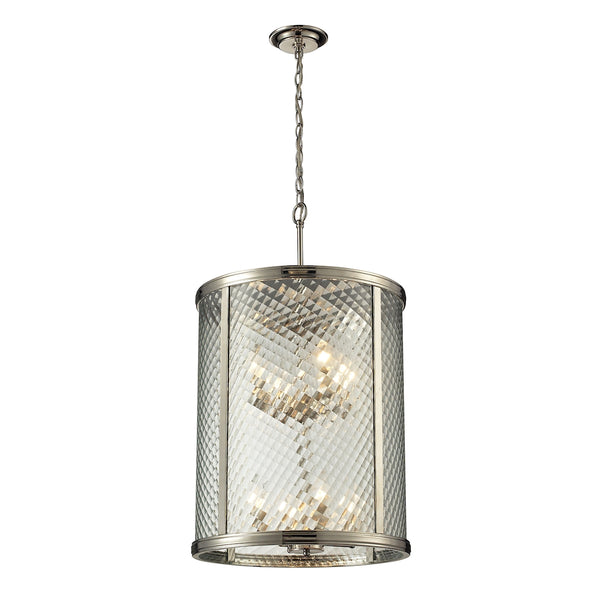 Chandler 8 Light Pendant In Polished Nickel And Clear Glass