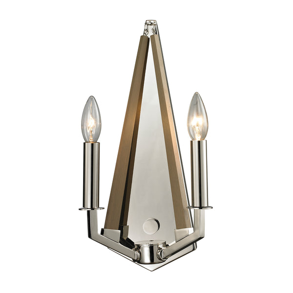 Madera 2 Light Sconce In Polished Nickel And Natural Wood
