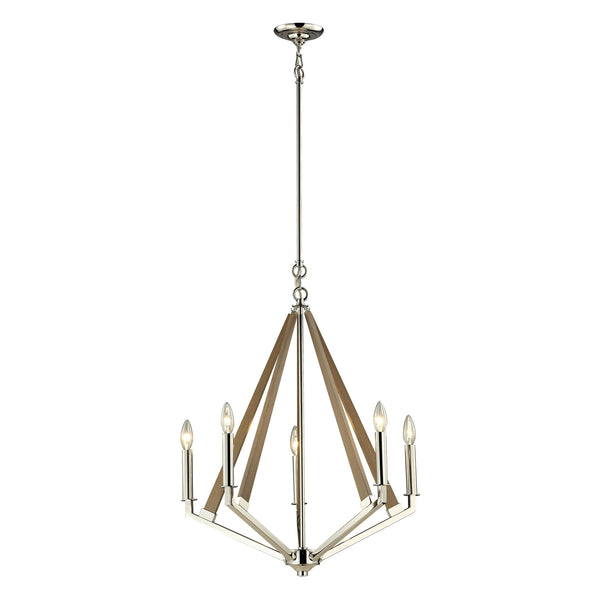 Madera 5 Light Chandelier In Polished Nickel And Natural Wood