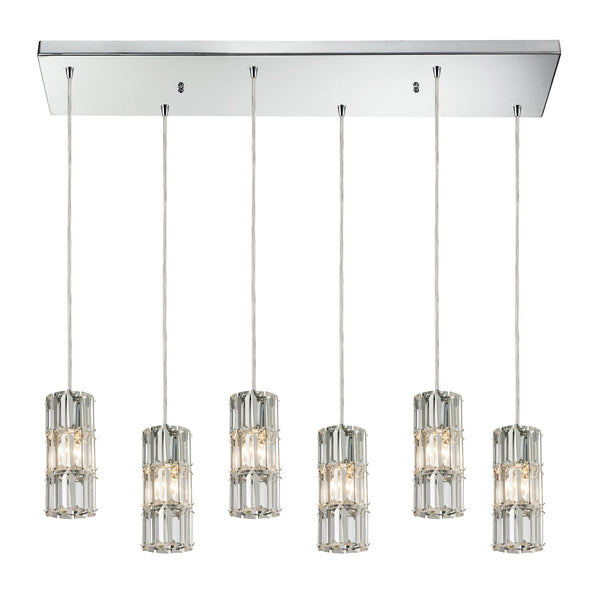 Cynthia 6 Light Pendant In Polished Chrome And Clear K9 Crystal