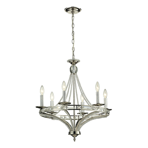 Aubree 6 Light Chandelier In Polished Nickel