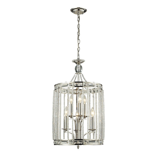 Aubree 3+3 Light Pendant In Polished Nickel