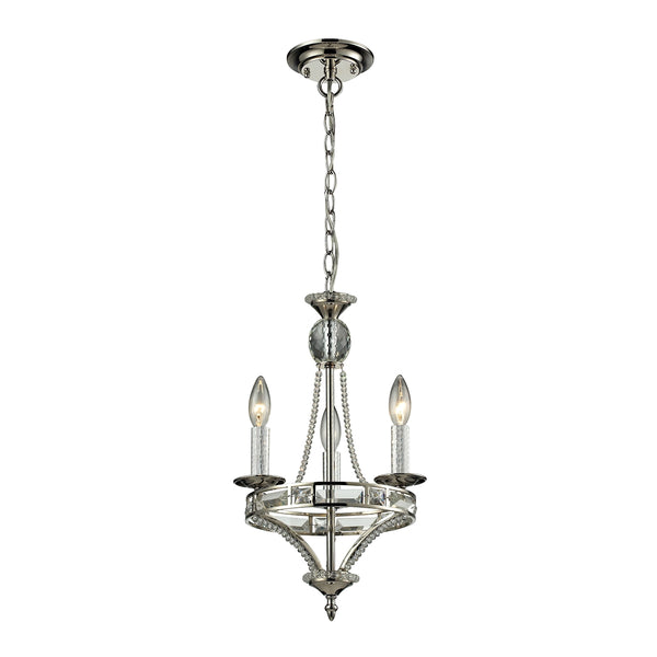 Aubree 3 Light Chandelier In Polished Nickel