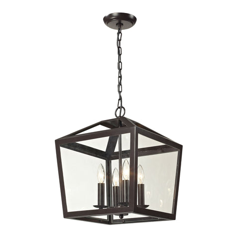 Elk Alanna 4 Light Semi Flush In Oil Rubbed Bronze And Clear Glass Pendant item number 31507/4