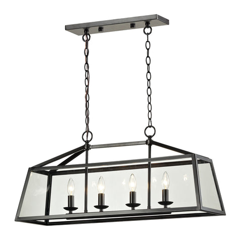 Alanna 4 Light Pendant In Oil Rubbed Bronze And Clear Glass