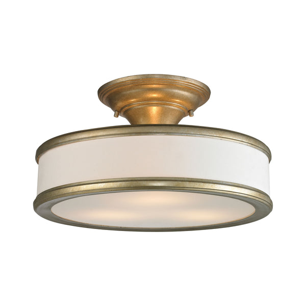 Clarkton 3 Light Semi Flush In Aged Silver
