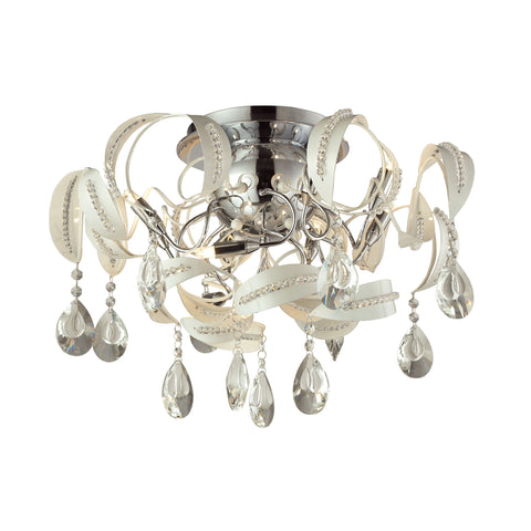 Zebula 8 Light Semi Flush In White