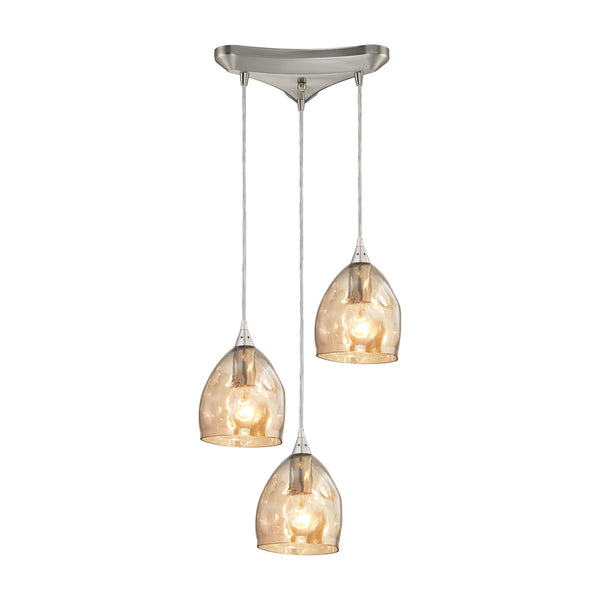 Niche 3 Light Pendant In Satin Nickel And Champagne Plated Glass