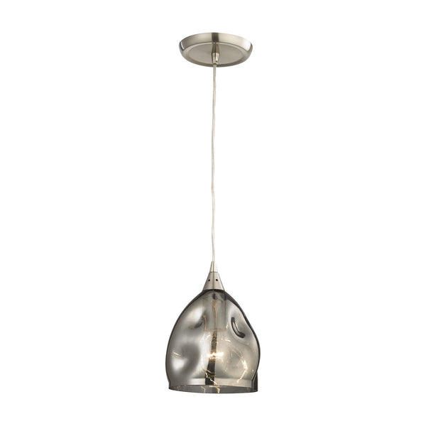 Niche 1 Light Pendant In Satin Nickel And Black Chrome Glass