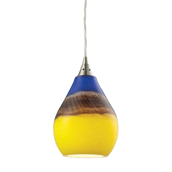 Dunes 1 Light Pendant In Satin Nickel And Sunscape Glass