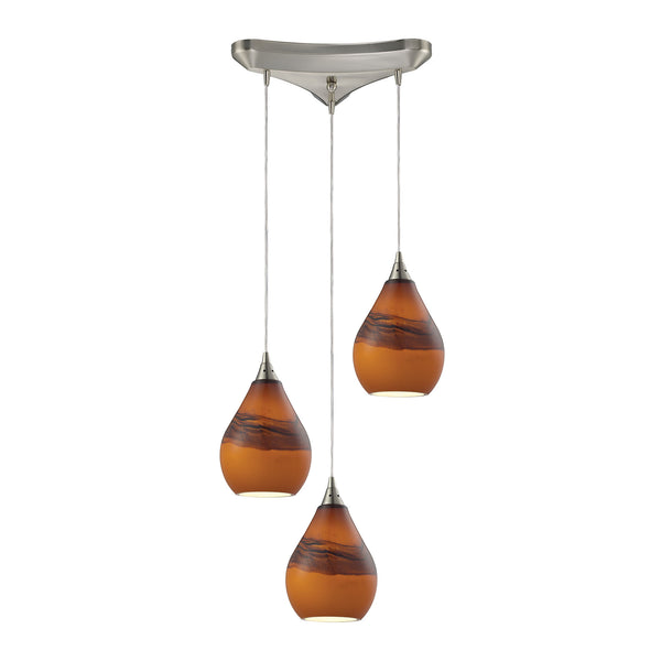 Dunes 3 Light Pendant In Satin Nickel And Shadow Glass