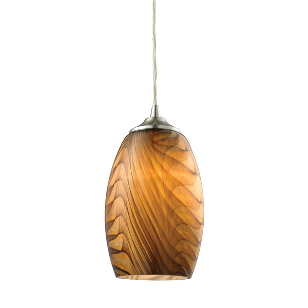 Tidewaters 1 Light Pendant In Satin Nickel And Amber Glass