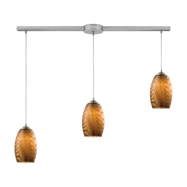 Tidewaters 3 Light Pendant In Satin Nickel And Amber Glass