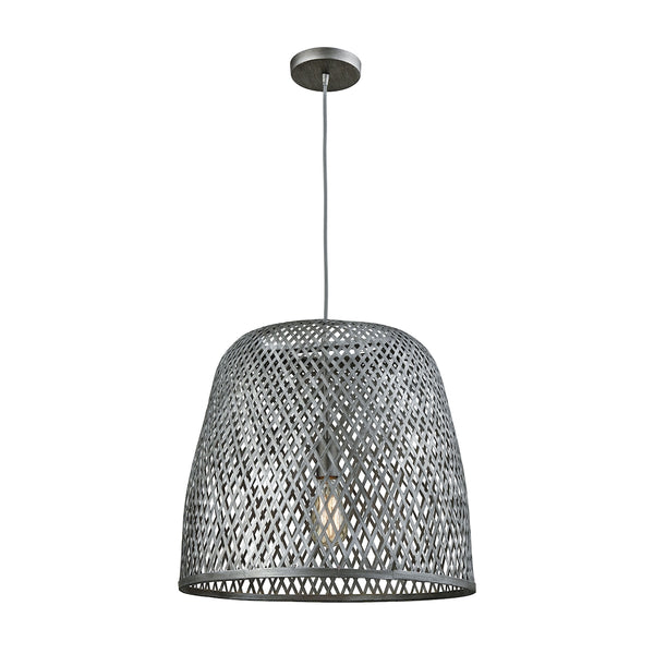 Pleasant Fields 1 Light Pendant With Graphite Hardware And Gray Wicker Shade - Includes Recessed Lighting Kit