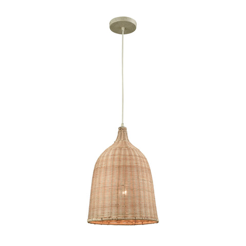 Pleasant Fields 1 Light Pendant With Russet Beige Hardware And Natural Wicker Shade