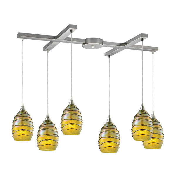 Vines 6 Light Pendant In Satin Nickel And Charteuse Glass