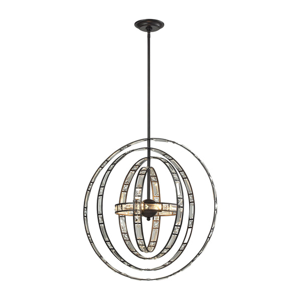 Crystal Orbs 6 Light Pendant In Oil Rubbed Bronze