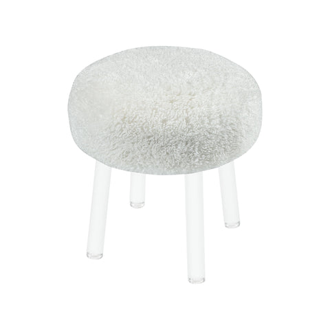 Beautiful Sterling  Angel Food Stool  in  Acrylic, Faux Poodle Fur