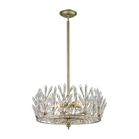 Viva Natura 5 Light Semi Flush In Aged Silver