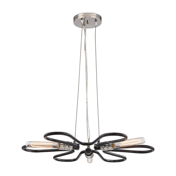 Continuum 3 Light Chandelier In Silvered Graphite With Polished Nickel Accents