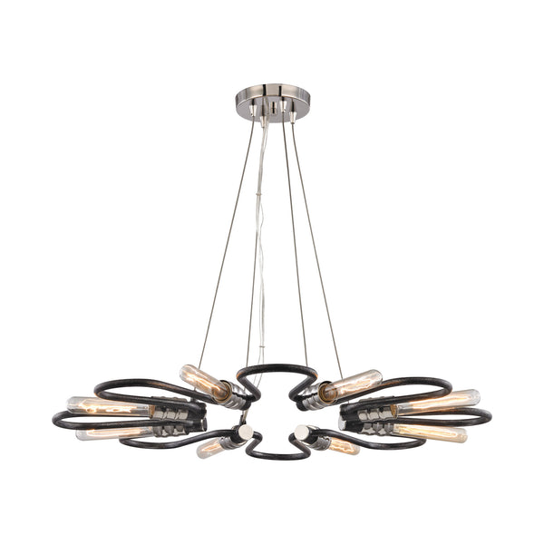 Continuum 8 Light Chandelier In Silvered Graphite With Polished Nickel Accents
