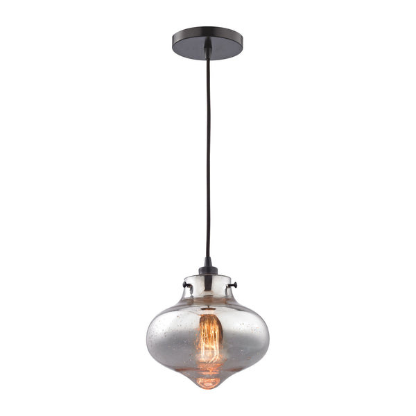 Kelsey 1 Light Pendant In Oil Rubbed Bronze And Mercury Glass