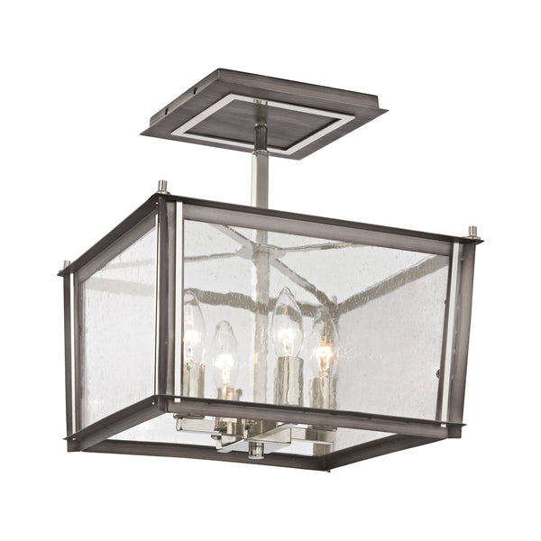 Ridgeview 4 Light Semi Flush In Weathered Zinc With Polished Nickel Accents