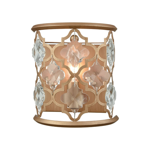 Armand 1 Light Wall Sconce In Matte Gold With Clear Crystal