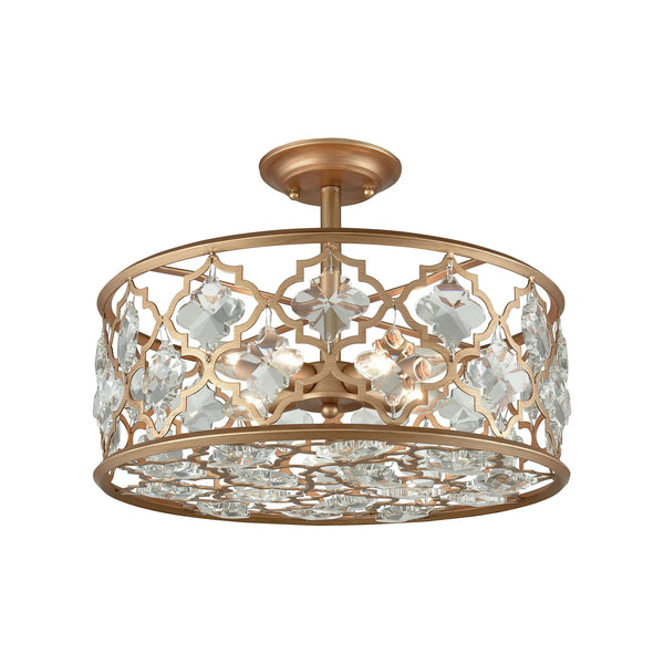 Armand 4 Light Semi Flush In Matte Gold With Clear Crystal