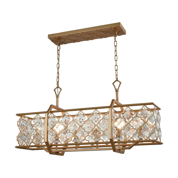 Armand 6 Light Chandelier In Matte Gold With Clear Crystal