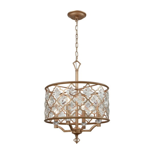 Armand 4 Light Chandelier In Matte Gold With Clear Crystal