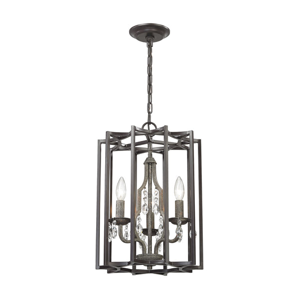 Belgique 3 Light Chandelier In Oil Rubbed Bronze And Malted Rust
