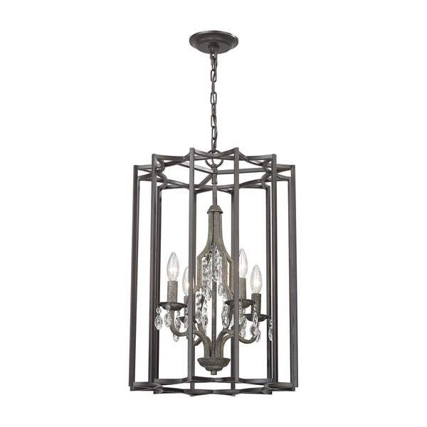 Belgique 4 Light Chandelier In Oil Rubbed Bronze And Malted Rust