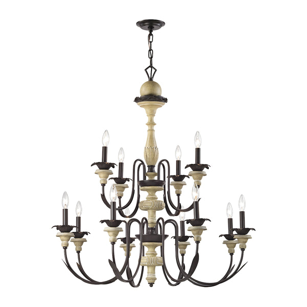 Channery Point 12 Light Chandelier In Aged Cream And Oil Rubbed Bronze