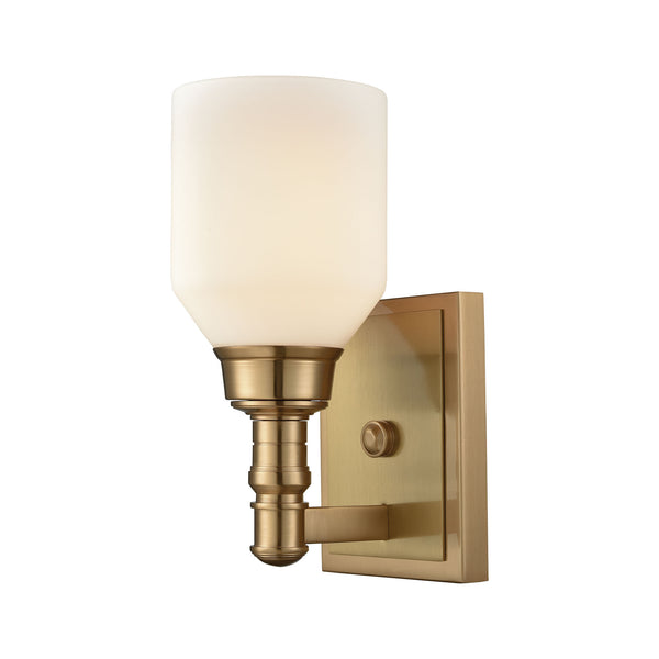Baxter 1 Light Vanity In Satin Brass With Opal White Glass
