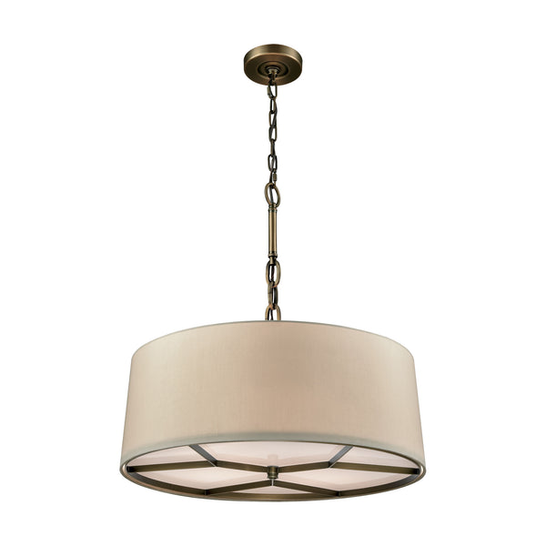 Baxter 4 Light Chandelier In Brushed Antique Brass With A Beige Fabric Shade