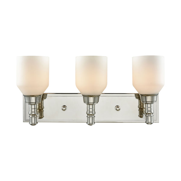 Baxter 3 Light Vanity In Polished Nickel With Opal White Glass