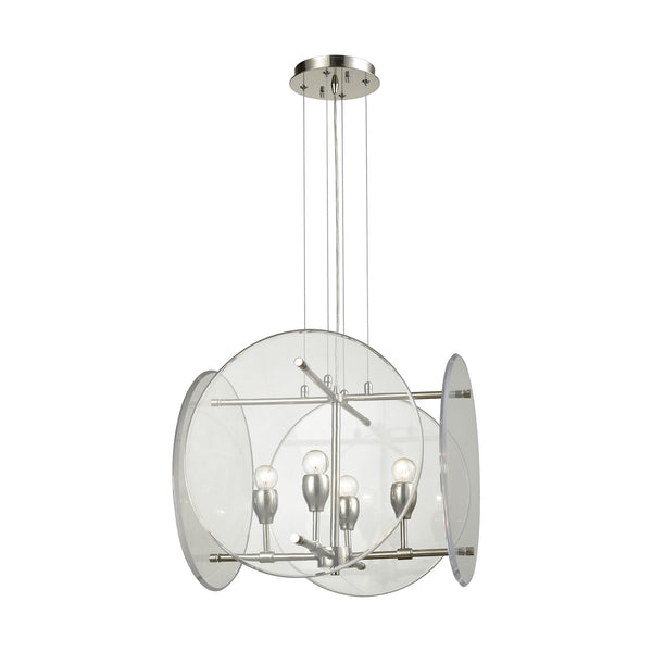 Disco 4 Light Chandelier In Polished Nickel With Clear Acrylic Panels