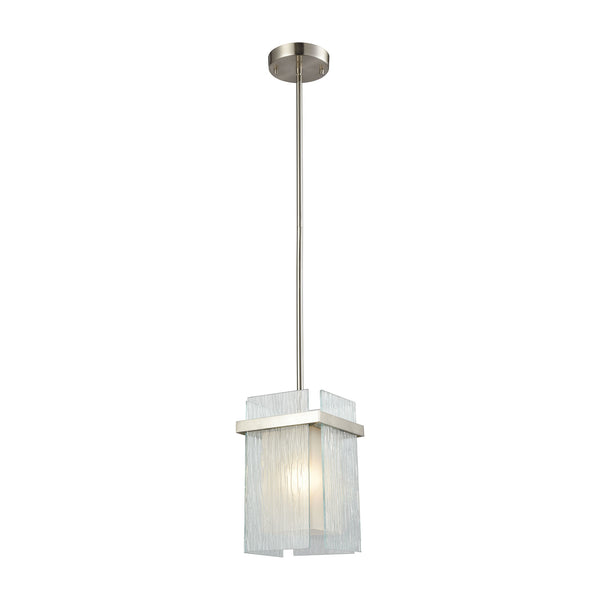 Vellis 1 Light Pendant In Satin Nickel With Frosted Glass And Textured Glass Panels