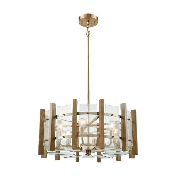 Vindalia 6 Light Chandelier In Satin Brass With Wood Slats And Curved Glass