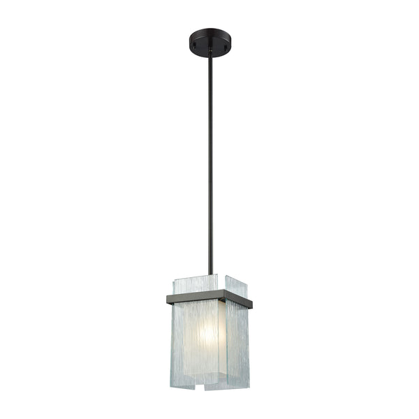 Vellis 1 Light Pendant In Oil Rubbed Bronze With Frosted Glass And Textured Glass Panels