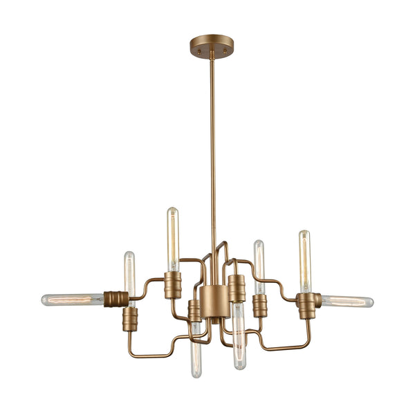 Transit 8 Light Chandelier In Matte Gold