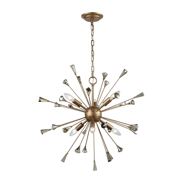 Sprigny 6 Light Chandelier In Matte Gold With Amber Teak Crystal