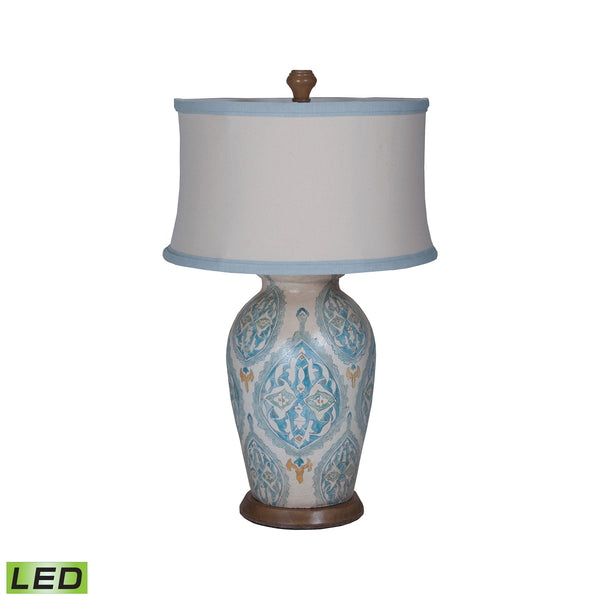 Beautiful GuildMaster  Terra Cotta LED Table Lamp VII With European Tile Art  in  Terracotta, Wood, Metal, Fabric