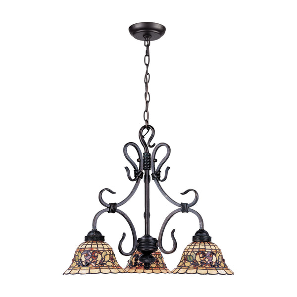 Tiffany Buckingham 3 Light Chandelier In Vintage Antique